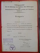 Zeugnis Für Die Zulassung Zum Studium Ohne Reifezeugnis Reichsministerium Für Wissenschaft Berlin 1941 - Diplome Und Schulzeugnisse