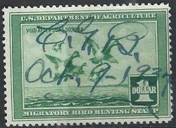 US  1937  Sc#RW4  $1 Scaup Ducks Hunting Stamp Used  2016 Scott Value $70 - Ducks