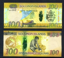 SOLOMON ISLANDS  -  2015  $100  Dehusking Coconuts  UNC Banknote - Salomons