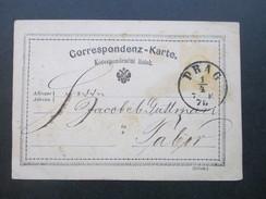 Österreich 1875 Ganzsache Prag - Tabor. Firmenzudruck Gustav Em. Kauders. Zucker. Colonialwaren & Dampf Caffe Brennerei - Briefe U. Dokumente