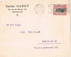 26286. Carta  Comercial BRUXELLES (Belgien) 1921. Xavier GADET - Bélgica