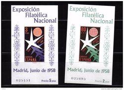 ESPAÑA EXPOSICIÓN FILATELICA NACIONAL 1958 BRUSELAS PERFECTAS SIN CHARNELA - 1958 – Bruselas (Bélgica)