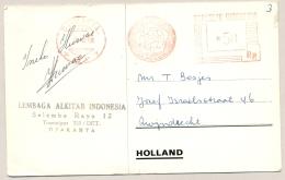 """Indonesia - 1968 - Roodfrankering / Meter Mark Machine 63 P.N. Pos & Giro Op Kaart """"U Nam Mijn Bijbel Voor Uw Rekeni - Indonesië"""