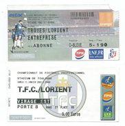 31 F - TICKET FOOT - 2 TICKETS - FC LORIENT (MATCHS A L'EXTERIEUR) - Football