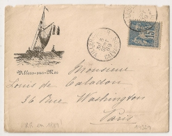 Peu Commun En  1889 ! Enveloppe Illustrée,  Bateau à Voile, VILLERS SUR MER Calvados Sur SAGE. - 1876-1898 Sage (Type II)