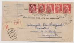 Bel Affranchissement GANDON à 65f. PONT L'EVEQUE Calvados. Justice De PAIX Pour TOURGEVILLE. - Marcophilie (Lettres)