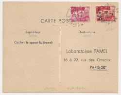 AURIGNAC Haute Garonne Sur CP Au Type Gandon, Tarif CP à 8F AVEC N°827. Pour Laboratoire FAMEL. - Marcophilie (Lettres)