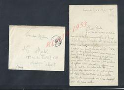 MILITARIA LETTRE EN FRANCHISE MILITAIRE SOLDAT MICHEL R 46 DE LIGNE 9 COMPAGNIE SPN10 POUR Meme MICHEL OB MAISON ALFORT - Postmark Collection (Covers)