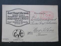 DR 1923 Roter Freistempel Drucksache. Firmenwerbung. Carl Vogel Chemnitz. Wasserstandsanzeiger Dampf Kessel. Armaturen - Deutschland