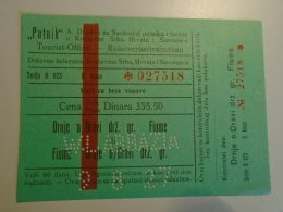 H2.5 Ticket De Train - Railway - WL Abbazia 1927 - Drnje N/Dravi Gr Fiume -Croatia - Unclassified