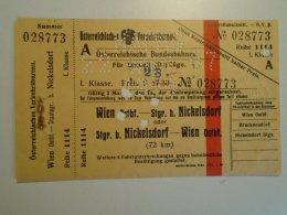 H2.6 Ticket De Train - Railway - WIEN -NIckelsdorf  -HAPAG  -1929 - Transportation Tickets
