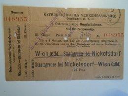 H2.8 Ticket De Train - Railway  -Nickelsdorf -Wien    -1925 -Austria -MÁV Budapest - Unclassified