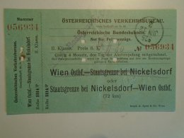 H2.13 Ticket De Train - Railway  - Nickelsdorf-Wien   -1925 -Austria  - MÁV Budapest - Transportation Tickets