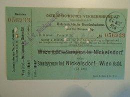 H2.14 Ticket De Train - Railway  - Nickelsdorf-Wien   -1925 -Austria  - MÁV Budapest - Transportation Tickets