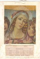 C2090 - CALENDARIO 1952 PUBBLICITA' LABORATORIO CHIMICO FARMACEUTICO GIORGIO ZOJA - MADONNA DELLA MELAGRA (BOTTICELLI) - Calendari