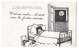 CROIX ROUGE AMERICAINE -commission Contre La Tuberculose -dessin RS. C'est Malin Il Dort Fenêtre Ouverte, Lune Humanisée - Croix-Rouge