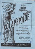 C2176 - CARTA ASSORBENTE - PUBBLICITA' ELISIR TONICO DIGESTIVO KOLAPEPTIDE LABORATORIO TARICCO - TORINO - Löschblätter, Heftumschläge