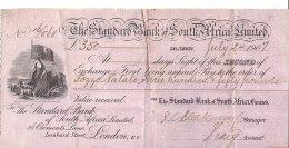 C2180 - ASSEGNO - VALUE RECEIVED - 350 LIRE STERLINE STANDARD BANK OF SOUTH AFRICA 1907 - Assegni & Assegni Di Viaggio