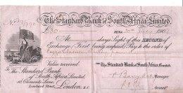 C2181 - ASSEGNO - VALUE RECEIVED - 30 LIRE STERLINE STANDARD BANK OF SOUTH AFRICA 1907 IMPOSTA BOLLO - Assegni & Assegni Di Viaggio