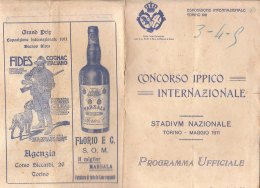 C2189 - PROGRAMMA UFFICIALE CONCORSO IPPICO INTERNAZIONALE STADIUM NAZIONALE TORINO 1911/CAVALLI/PUBBLICITA' - Programmi