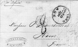 Salles N° 1797 Enrouge Sur Pli Taxé DE NEW YORK Pour  LE HAVRE 1860 - Maritime Post