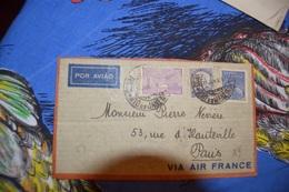 BRESIL .LETTRE PAR AVION VIA AIR FRANCE .CACHET DEPART RIO DE JANEIRO 11  JANVIER 1936 .ARRIVÉ PARIS 16 JANVIER 1936. - Airmail