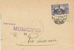DA FERRARA A RIO SALICETO (RE) AFFRANCATO CON  C. 30 BIMILLENARIO NASCITA VIRGILIO DEL 11/01/1931 - CATALOGO SASSONE 286 - Marcophilie
