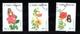 Sao Tome En Principe 1988 Mi Nr 1062 - 1064 ; Bloemen En Vlinders, Flower And Butterfly - Sao Tome En Principe