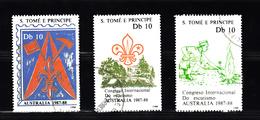 Sao Tome En Principe 1988 Mi Nr 1068 - 1070; Scouting Jamboree Australie - Sao Tome En Principe