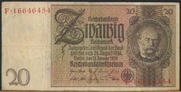 °°° GERMANY - 20 REICHSMARK 1929 SERIE F °°° - [ 3] 1918-1933 : Repubblica  Di Weimar