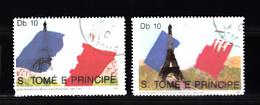 Sao Tome En Principe 1989 Mi Nr 1106 + 1107: Franse Vlag + Eifeltoren + Concorde - Sao Tome En Principe