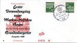 """BRD Schmuck-FDC  Freimarken """"Brandenburger Tor"""", Mi. Zdr. Aus MH KZ 7 ESST OBERHAUSEN 1  8.3.1968 - FDC: Briefe"""