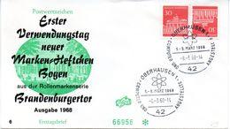 """BRD Schmuck-FDC  Freimarken """"Brandenburger Tor"""", Mi. Zdr. Aus MH K 9 ESST OBERHAUSEN 1  8.3.1968 - FDC: Briefe"""