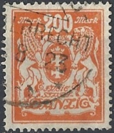 Danzica - 1923 Nuovo Tipo 200m Arancio # Michel 142 - Scott 115 - Unificato 107 USATO - Danzig