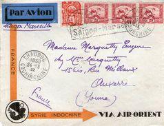 Enveloppe AIR ORIENT De CHAUDOC Pour AUXERRE Griffe SAIGON MARSEILLE  1932 - Covers & Documents