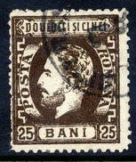 ROMANIA 1872 Prince Carol With Beard 25 B. Perforated 12½, Used.  Michel 34 - 1858-1880 Moldavia & Principality