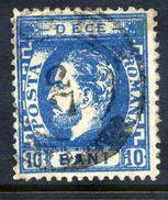 ROMANIA 1872 Prince Carol With Beard 10 B. Perforated 12½, Used.  Michel 33 - 1858-1880 Moldavia & Principality