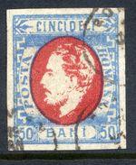 ROMANIA 1872 Prince Carol With Beard 50 B.  Used.  Michel 31 - 1858-1880 Moldavia & Principality