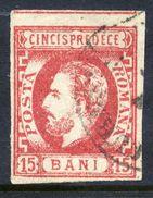 ROMANIA 1872 Prince Carol With Beard 15 B.  Used.  Michel 30 - 1858-1880 Moldavia & Principality