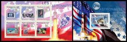 GUINEA 2009 - Astronauts On Stamps - YT 4540-5 + BF1057; CV = 30 € - Espace