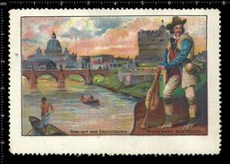 German Poster Stamps, Reklamemarke, Vignette, Castel Sant Angelo, Castle Of The Holy Angel, Bridge, Brücke, Rome, Rom, - Ponts