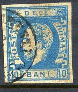 ROMANIA 1872 Prince Carol With Beard 10 B. On Ribbed Paper Used. SG 101,  Michel 29x - 1858-1880 Moldavia & Principality