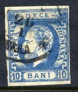 ROMANIA 1871 Prince Carol With Beard 10 B.blue Type I Used. SG 85,  Michel 29 I. - 1858-1880 Moldavia & Principality