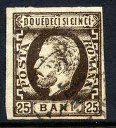 ROMANIA 1871 Prince Carol With Beard 25 B. Used.   Michel 28 - 1858-1880 Moldavia & Principality