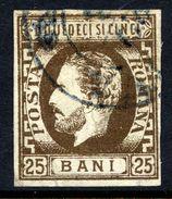 ROMANIA 1871 Prince Carol With Beard 25 B.olive-brown Used.   Michel 28 - 1858-1880 Moldavia & Principality
