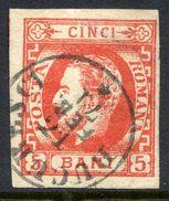 ROMANIA 1871 Prince Carol With Beard 5 B.vermilion Used.   Michel 26b - 1858-1880 Moldavia & Principality