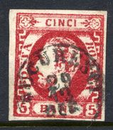 ROMANIA 1871 Prince Carol With Beard 5 B. Carmine Used.   Michel 26a - 1858-1880 Moldavia & Principality