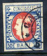 ROMANIA 1869 Prince Carol 50 B. Blue/red  Used.   Michel 25a - 1858-1880 Moldavia & Principality