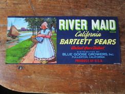 River Maid. California Bartlett Pears. Walnut Grove District. Distributed By Blue Goose Growers, Inc., Fullerton. - Farm