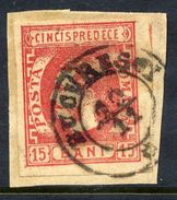 ROMANIA 1869 Prince Carol 15 B. Used On Piece.   Michel 23 - 1858-1880 Moldavia & Principato